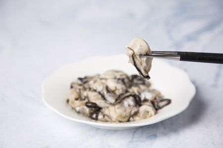 Photo pour Close up of  food ingredients Isolated on   - salsify, oyster, mussel, shrimp and clam - image libre de droit