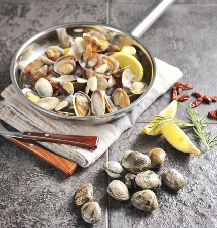 Photo for steamed manila clam on pan - Royalty Free Image