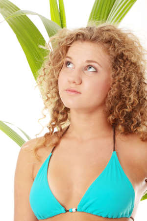 Teen girl in bikini - close up portrait isolated