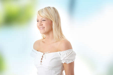 Beauty blond teen outdoor portrait