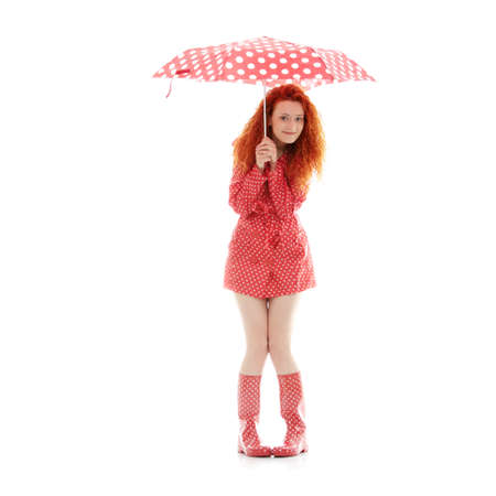 Rainy woman in red, isolated on white background