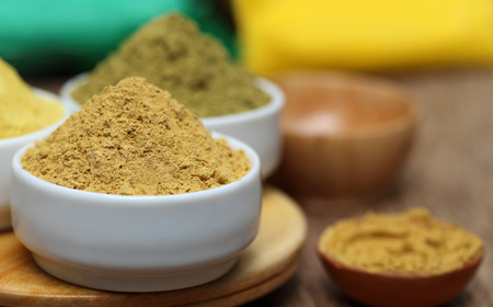 Photo for Close up of henna and sandalwood powder - Royalty Free Image