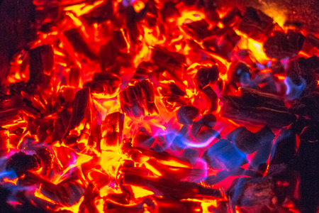 Photo for Wooden coils and fire in the grill - Royalty Free Image