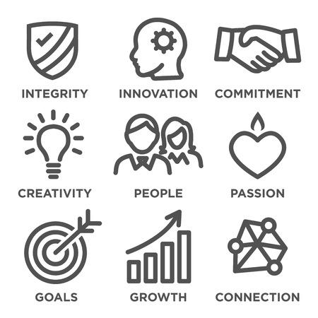 Illustration pour Company Core Values Outline Icons for Websites or Infographics - image libre de droit