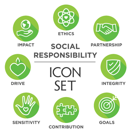 Illustration for Social Responsibility Outline Icon Set - drive, growth, integrity, sensitivity, contribution, goals - Royalty Free Image