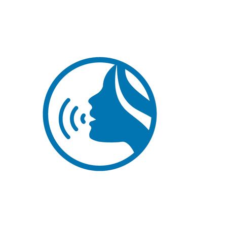 Illustration pour Voice emitting sound via voice chords with face - image libre de droit