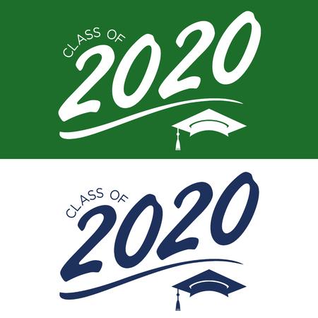 Ilustración de Class of 2020 Congratulations Graduate Typography with Cap and Tassle - Imagen libre de derechos