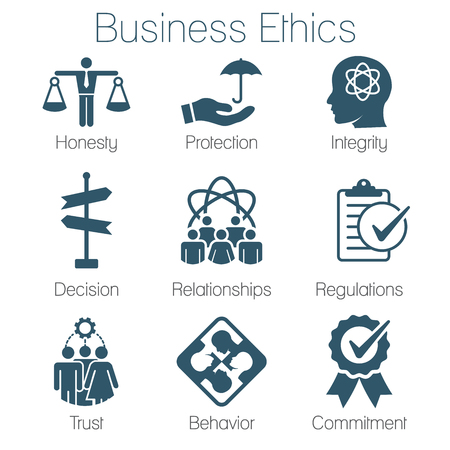 Illustration pour Business Ethics Solid Icon Set with Honesty, Integrity, Commitment, & Decision - image libre de droit