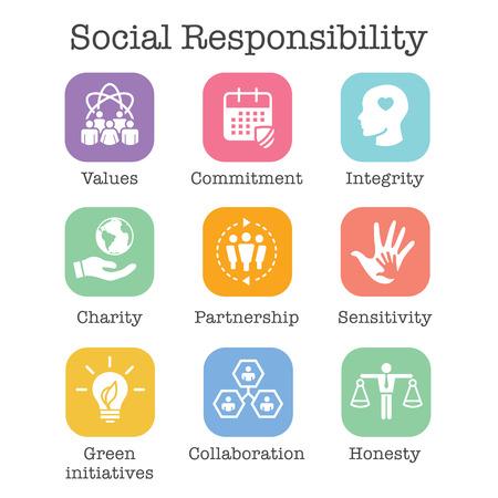 Illustration pour Social Responsibility Solid Icon Set with Honesty, integrity, collaboration, etc  - image libre de droit