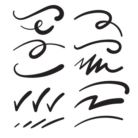 Ilustración de Swishes, Swashes, Swoops, Swooshes, Scribbles, & Squiggles for Typography Emphasis - Imagen libre de derechos