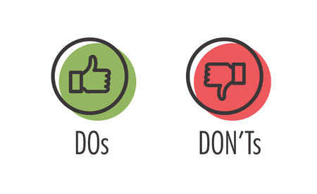 Illustrazione per Do and Don't or Like & Unlike Icons with Positive and Negative Symbols - Immagini Royalty Free