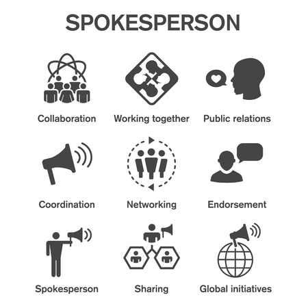 Illustration pour Spokesperson icon set w bullhorn, coordination, pr, public relations person set - image libre de droit