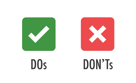 Illustration pour Do and Don't or Good and Bad Icons w Positive and Negative Symbols - image libre de droit