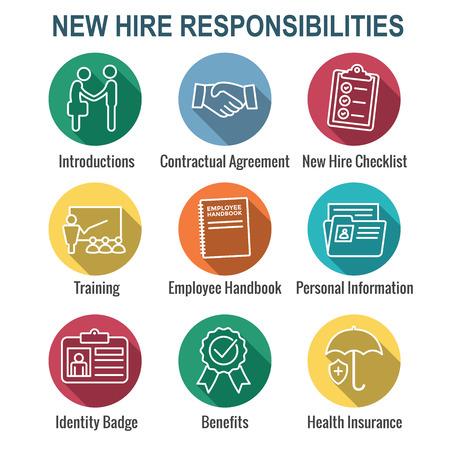Illustrazione per New Employee Hiring Process icon set   with checklist, handshake, training, etc - Immagini Royalty Free