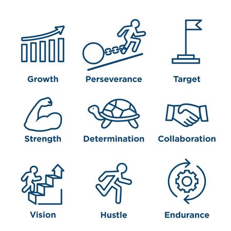 Ilustración de Persistence icon set - image of extreme motivation and drive set on persevering - Imagen libre de derechos