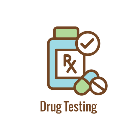 Illustration pour Drug Testing & Safety Approval Icon Vector Graphic with Rounded Edges - image libre de droit