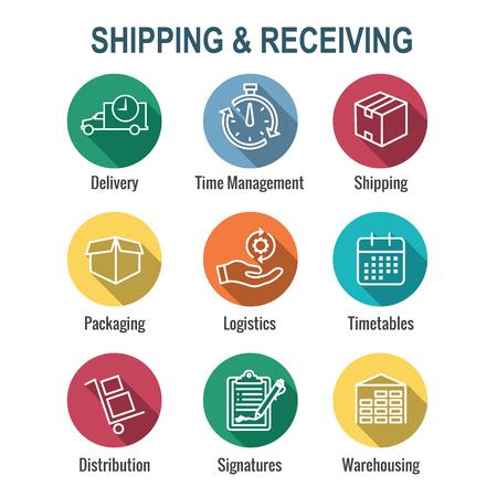 Illustration pour Shipping and Receiving Icon Set w Boxes, Warehouse, checklist, etc - image libre de droit