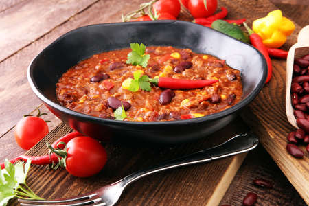 Photo for Hot chili con carne - mexican food tasty and spicy. - Royalty Free Image