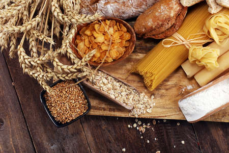 Photo for whole grain products with complex carbohydrates on rustic table - Royalty Free Image
