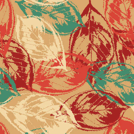 Seamless grunge pattern with colorful leaves on warm background