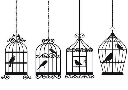 ornamental vintage birdcages with birds, vector background