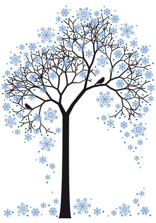 beautiful winter tree with snowflakes, background