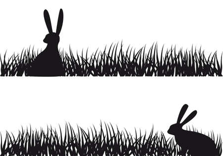 easter bunny sitting in grass, vector illustration