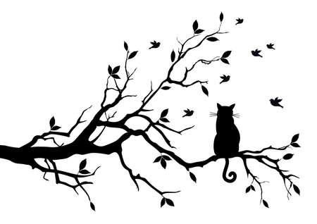 cat sitting on a tree, watching birds