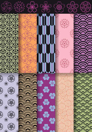seamless asian patterns and flowers