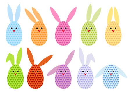 set of colorful easter egg bunnies, vector illustration