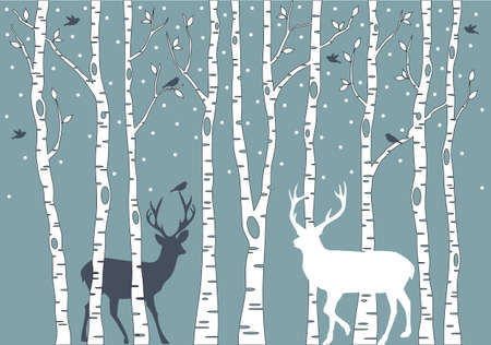birch trees with birds and deer mural
