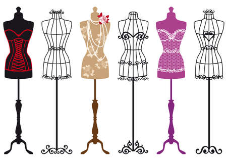 Photo pour set of stylish fashion dress forms - image libre de droit