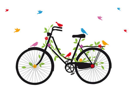 Photo pour vintage bicycle with birds, leaves and flowers - image libre de droit