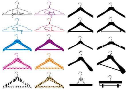 Photo pour set of different clothes hanger, vector design elements - image libre de droit