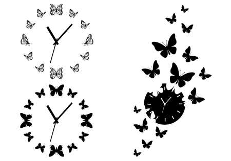 Illustration pour time flies, butterfly clocks for wall art, set of vector design elements - image libre de droit