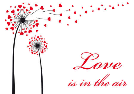 Photo for Love is in the air, dandelion with flying red hearts, vector illustration - Royalty Free Image