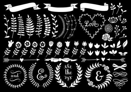 Illustration pour white vintage floral laurel wreath set on chalkboard, vector design elements - image libre de droit