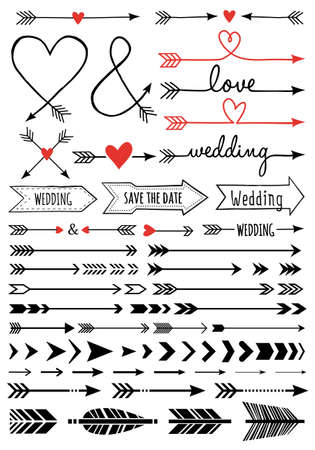 Illustration for hand-drawn wedding arrows, set of vector design elements - Royalty Free Image