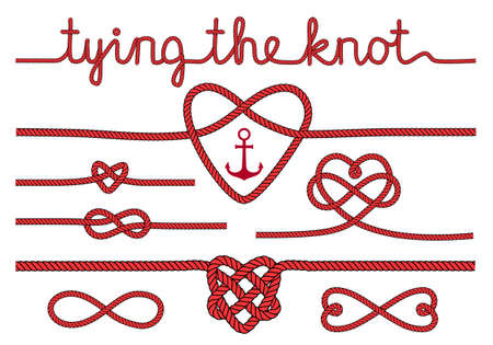 Illustration pour tying the knot, rope hearts for wedding invitation, set of vector design elements - image libre de droit