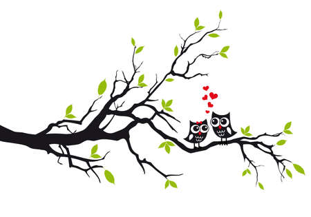 Illustration pour Cute owls in love sitting on green tree, vector illustration - image libre de droit
