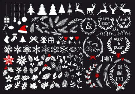 Illustration pour White Christmas, big set of graphic design elements - image libre de droit