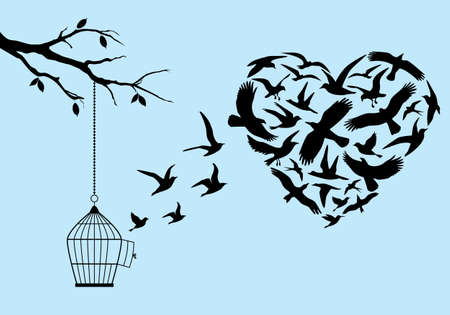 Illustration pour flying birds in heart shape with birdcage and tree, vector illustration - image libre de droit