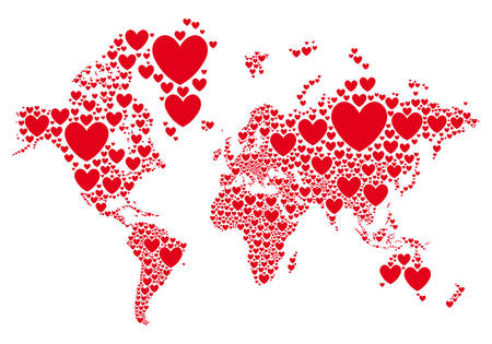 Illustration pour Love, world map with red hearts, vector background - image libre de droit