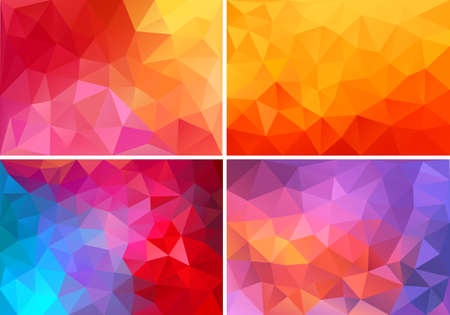 Ilustración de abstract red,orange,pink low poly backgrounds, set of vector design elements - Imagen libre de derechos