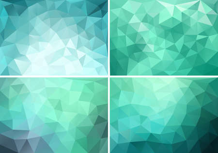 Illustration for abstract blue, green and teal low poly backgrounds, set of vector design elements - Royalty Free Image