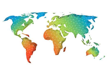 Ilustración de Abstract low poly world map with colorful geometric pattern, vector - Imagen libre de derechos