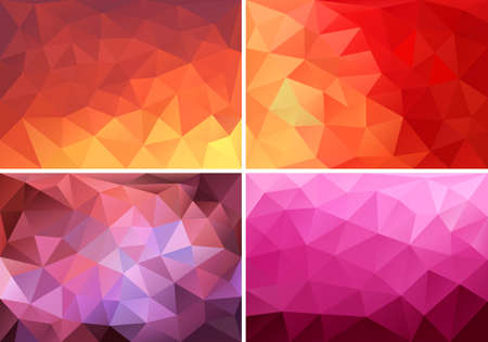 Illustration pour abstract red, orange and pink low poly backgrounds, set of vector design elements - image libre de droit