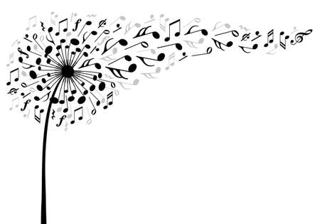Illustration pour music dandelion flower with flying musical notes, vector illustration - image libre de droit