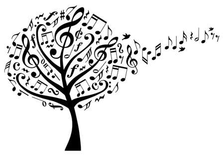 Illustration pour music tree with treble clefs and flying musical notes, vector illustration - image libre de droit