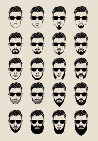 Ilustración de young male face with hipster beards and mustache, bearded user icons, avatar, vector set - Imagen libre de derechos